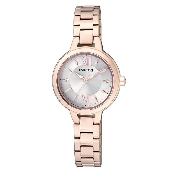 CITIZEN星辰WICCA(BG3-724-11)玫瑰金典雅時尚腕錶/粉紅面26mm
