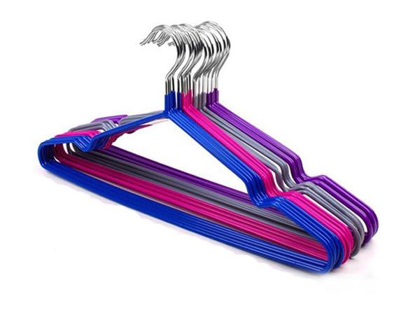 BO雜貨【SV6183】奈米防滑不鏽鋼浸塑帶凹槽衣架 防水衣架 防滑衣架 乾濕兩用
