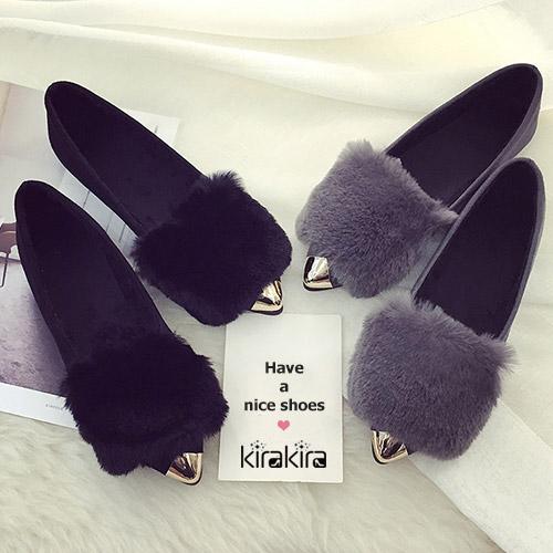 包鞋-柔軟兔毛金屬飾後跟包鞋-偏小