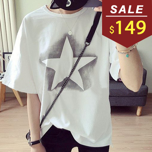 T恤 渲染星星印花前短後長短袖上衣 小豬兒 MiNi Jule 【SCA61046563】