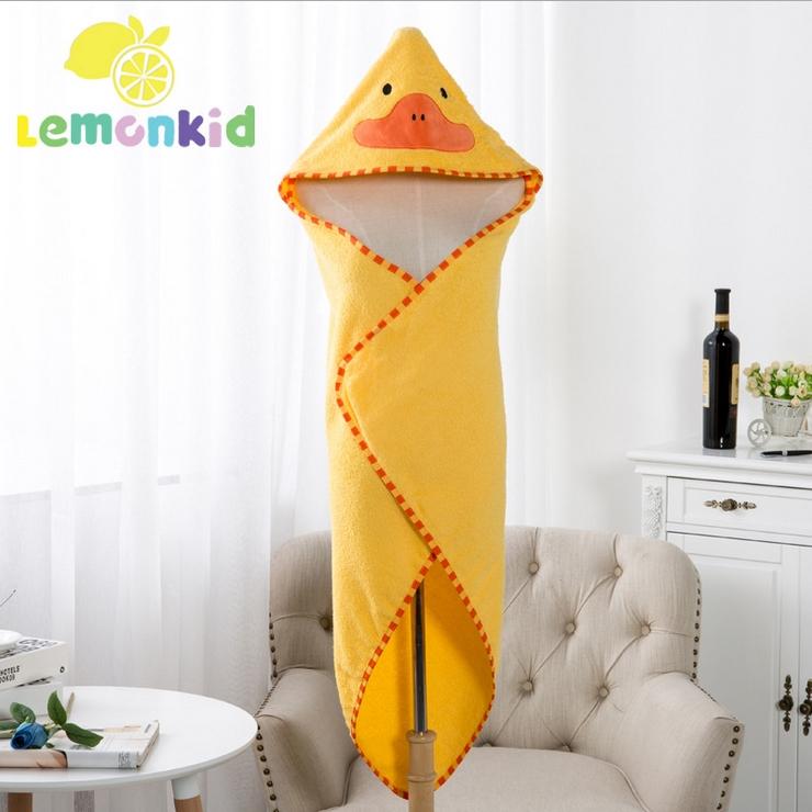 Lemonkid◆可愛卡通造型純棉柔軟吸水寬大蓋毯兒童嬰兒浴巾帶帽毛巾被浴袍90*90cm-黃色小鴨