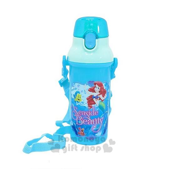 特價399↘〔小禮堂〕迪士尼 小美人魚 日製直飲式水壺《藍.朋友.480ml》安全扣壓彈跳蓋