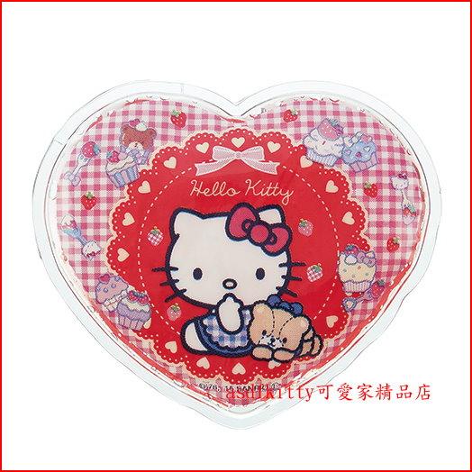asdfkitty可愛家☆KITTY愛心型保冷劑/保冰劑-保鮮食物或牙痛.發燒降溫-冰敷-日本正版商品