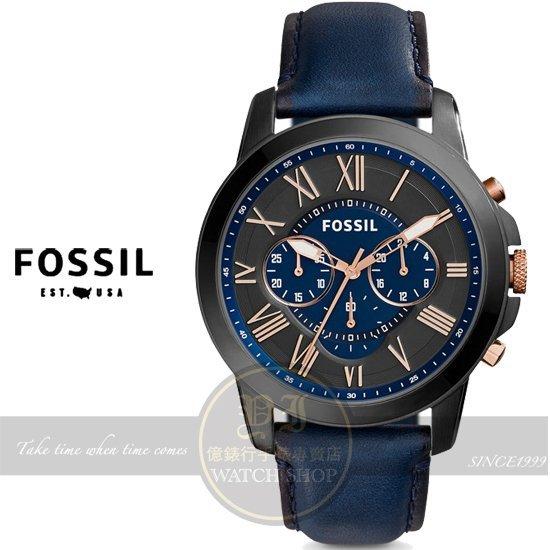 FOSSIL美國品牌Grant 純粹男人魅力真皮腕錶-深藍/IP黑44mm FS5061原廠公司貨/禮物