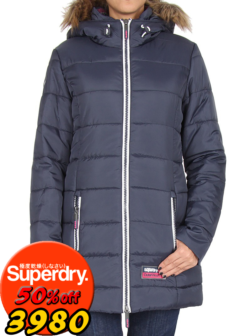 【女款】歲末出清極度乾燥 Superdry 海外獨家 長板羽絨衣 外套 英國經典 防風 超輕質連帽 藍白 黑紫