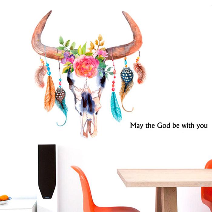 DIY無痕壁貼 手繪牛角羽毛時尚個性 牆貼 創意壁貼【YV6773】快樂生活網