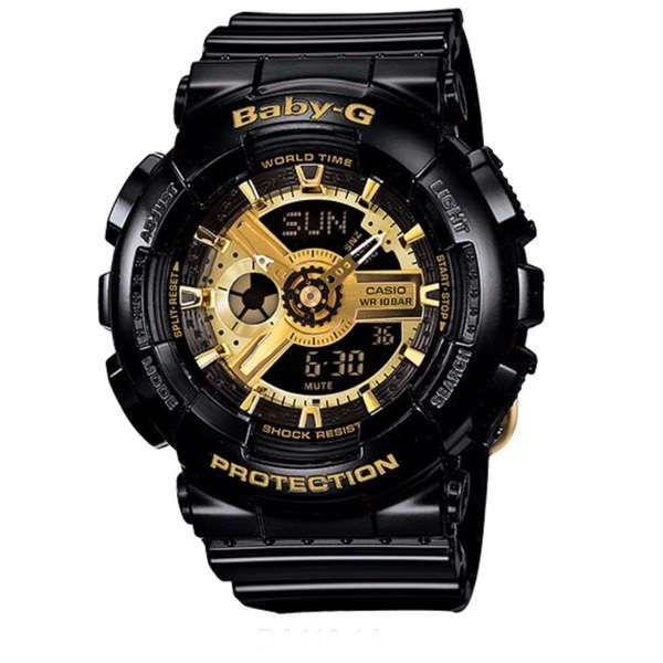 國外代購CASIO BABY-G BA-110-1A 黑金 雙顯 防水 手錶 腕錶 情侶錶 女生聖誕交換禮物