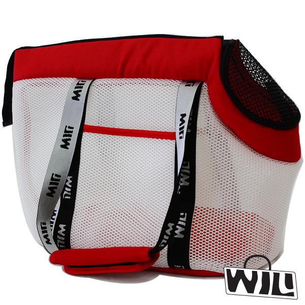 【WILL設計+寵物用品】RB-04極輕超透氣舒適寵物外出肩背包(白網+紅)