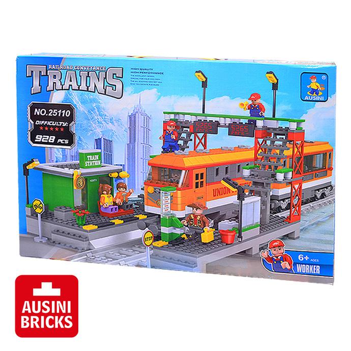 【AUSINI 奧斯尼積木】列車總動員系列 - 火車站台 25110 (可相容於LEGO樂高)