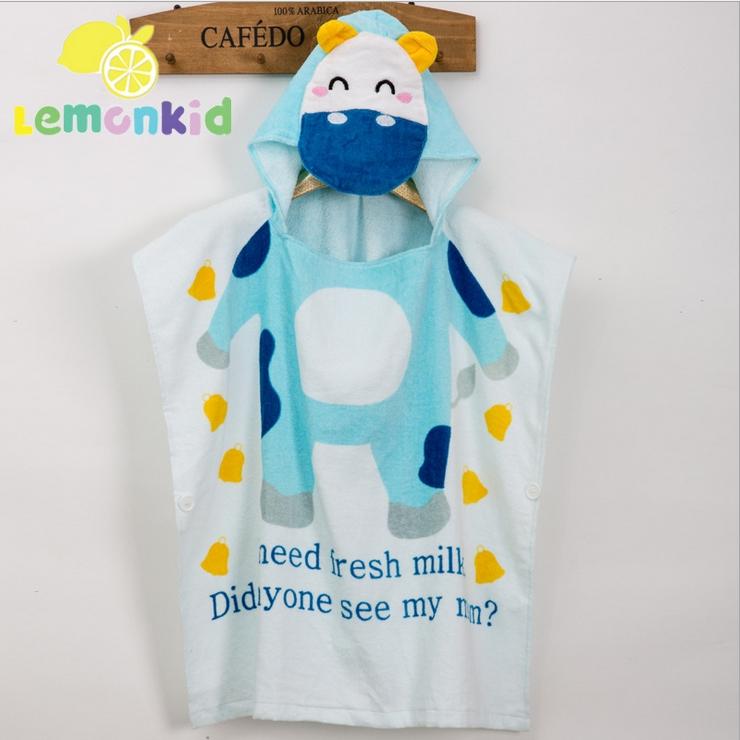 Lemonkid檸檬寶寶◆可愛卡通造型吸水柔軟全棉寬大舒適兒童嬰兒蓋毯浴巾浴袍60cm*120cm-藍色乳牛