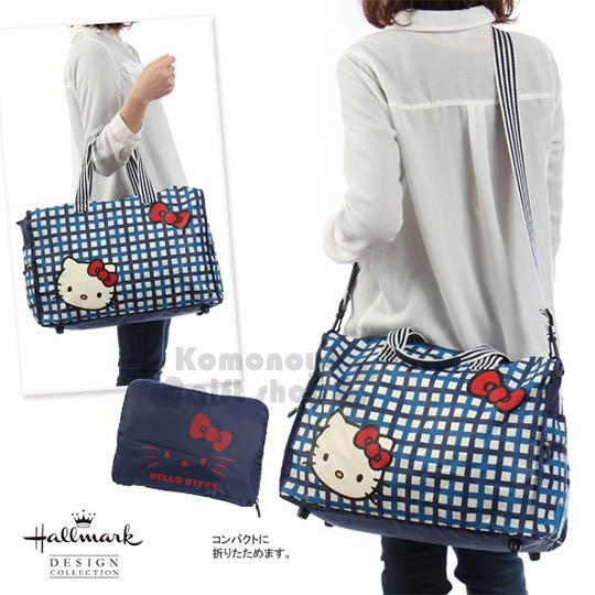 〔小禮堂〕Hello Kitty x Hallmark旅行袋《藍格紋.大臉.紅蝴蝶結》可掛於行李箱桿上