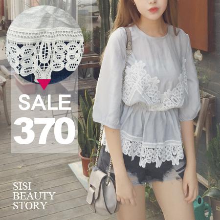 SISI【T6027】休閒甜美風蕾絲拼接裙擺縮腰中袖棉麻上衣情人節約會