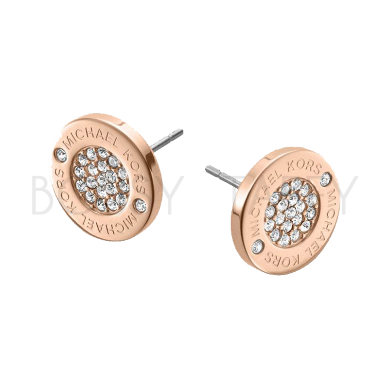 MICHAEL KORS 經典玫瑰金簡約鑲鑽耳環 MK Pavé Rose Gold-Tone Stud Earrings