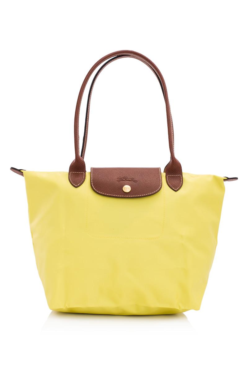 [2605-S號] 國外Outlet代購正品 法國巴黎 Longchamp 長柄 購物袋防水尼龍手提肩背水餃包 檸檬黃