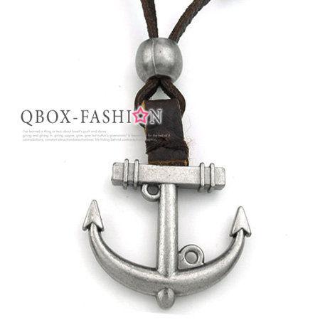 《 QBOX 》FASHION 飾品【W10022680】精緻個性復古船錨合金皮革墬子項鍊