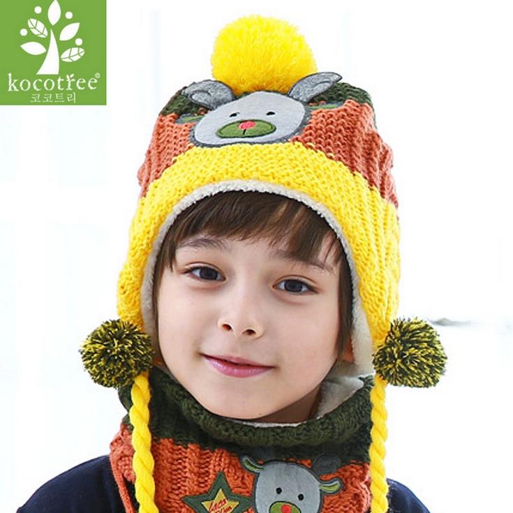 Kocotree◆秋冬聖誕時尚麋鹿造型立體毛球可拆卸絨球辮2way兒童毛線護耳帽-黃色