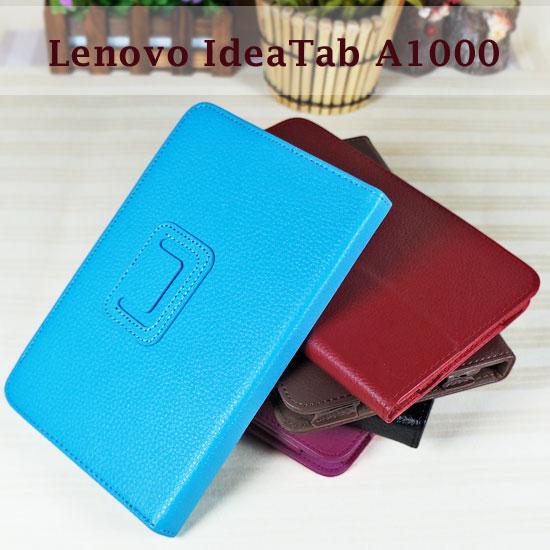 【斜立、翻頁式】聯想 Lenovo IdeaTab A1000/A-1000 平板 荔枝紋皮套/筆記本式保護套/書本式可立架展示
