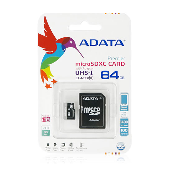 【64GB、C10】威剛 ADATA microSDHC Class 10 UHS-1/U1 64G 記憶卡/原廠公司貨 附SD轉卡