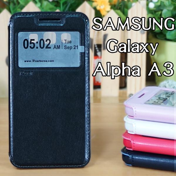 【Roar】三星 SAMSUNG Galaxy A3/A300YZ 吸合視窗皮套/書本翻頁式側掀保護套/側開插卡手機套/斜立支架保護殼