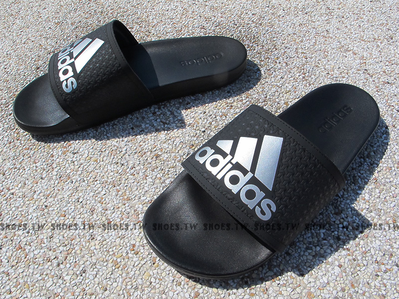 Shoestw【S79352】ADIDAS ADILETTE CF+ 拖鞋 黑銀 柔軟鞋底 男生尺寸