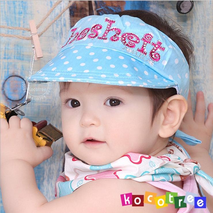 Kocotree◆可愛點點質感字母刺繡舒棉兒童帽防曬帽空頂帽-藍色