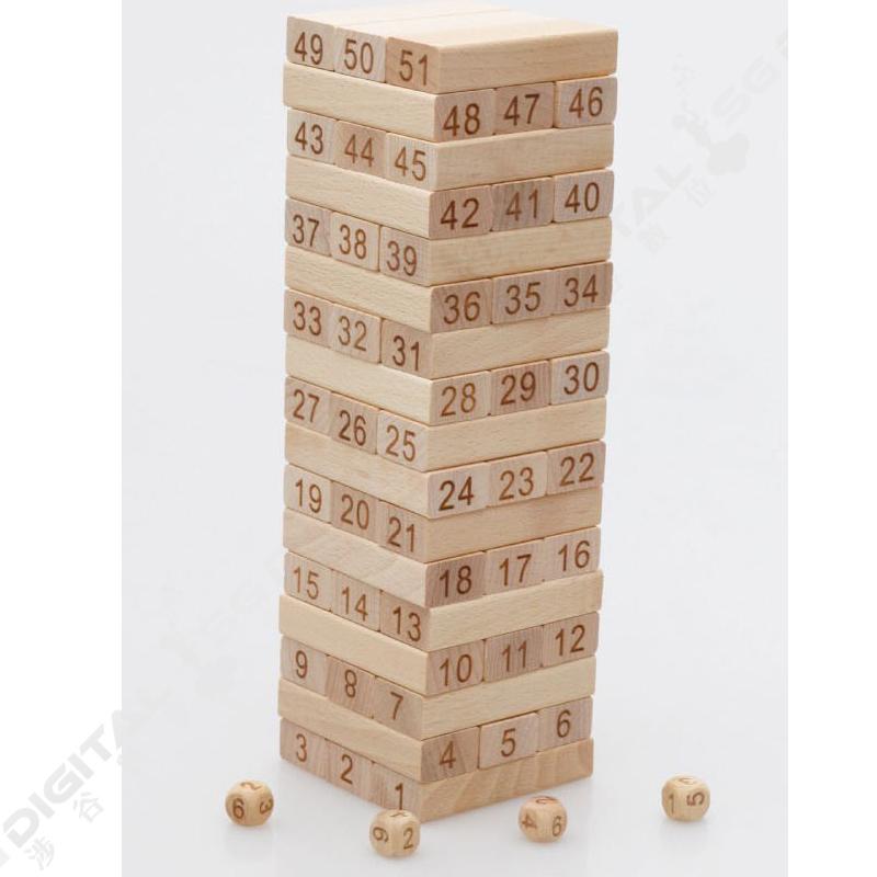 疊疊樂 益智玩具數字層層疊抽積木原木色疊疊樂桌遊