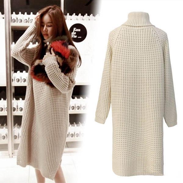 PS Mall 韓版秋冬季高領針織毛衣中長款連身裙 洋裝【T4353】