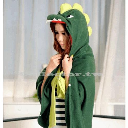 【M13100901】小恐龍宅人披肩 可愛小恐龍披風 卡通斗篷 空調毛毯