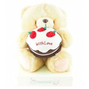 剪刀石頭紙 FF4.5/8吋絨毛草莓蛋糕熊