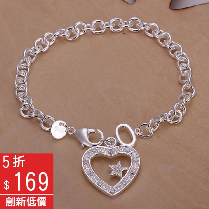 925純銀心型造型鑲鑽吊墜手鍊【Q02YH028】-預購