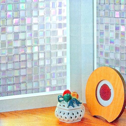 【零碼 92x50公分】日本MEIWA抗UV節能3D靜電窗貼 (馬賽克)