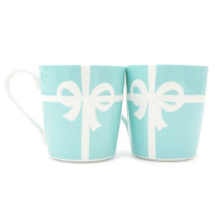 預購。裕子的店。優雅瓷器生活。白色蝴蝶絲帶TIFFANY綠陶瓷馬克杯 - 2入一組【jp1220-295】