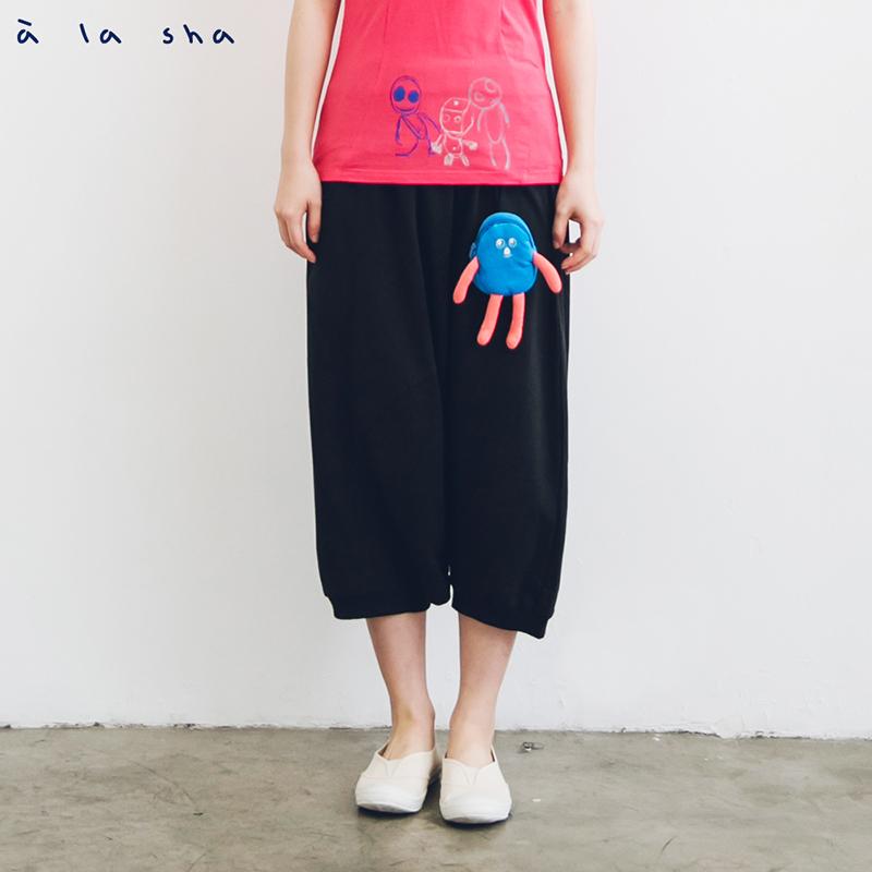 a la sha enco 簡約素面低襠褲 (附小狗包包)