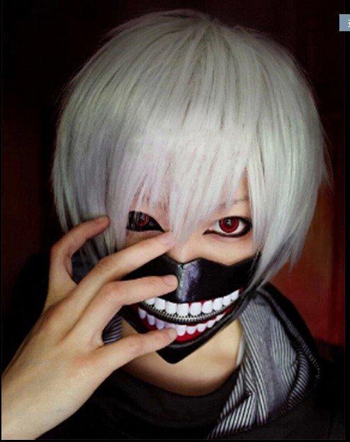 DS012東京食屍鬼面具金木研面具口罩喰種面罩cosplay假髮道具(假髮+口罩)