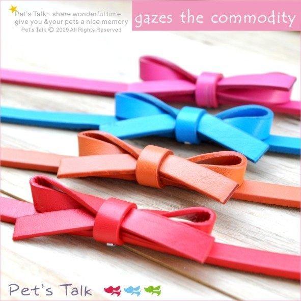 儉約別緻款真皮蝴蝶結項圈+牽繩組 超值優惠 中小型犬適用 Pet's Talk