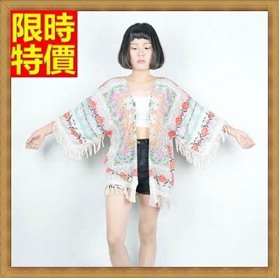和服外套 和風女罩衫-波希米亞日式流蘇花色防曬小外套68af49【日本進口】【米蘭精品】