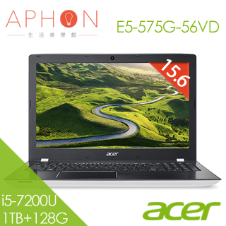 【Aphon生活美學館】ACER E5-575G-56VD 15.6吋 Win10 2G獨顯 筆電(i5-7200U/4G/1T+128G SSD)-送acer無線鼠+雙人牌指甲剪