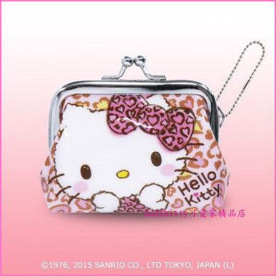 asdfkitty可愛家☆KITTY愛心雙珠扣零錢包-防水材質-可當印章袋-日本正版商品