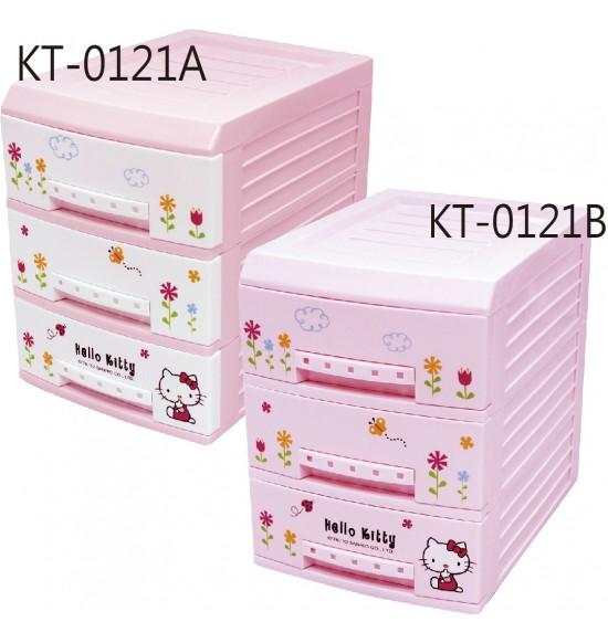 Hello Kitty 小花三層整理抽屜櫃 白/粉