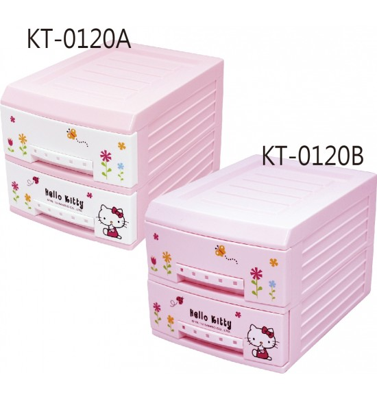 Hello Kitty 小花兩層整理抽屜櫃 白/粉