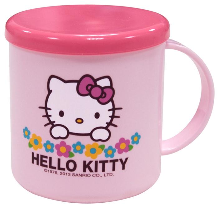 Hello Kitty 附蓋小花漱口杯
