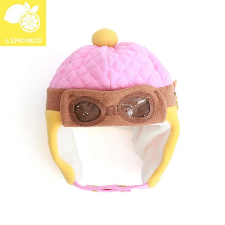 Lemonkid◆秋冬可愛酷酷熊眼鏡造型兒童保暖護耳帽飛行帽-粉色