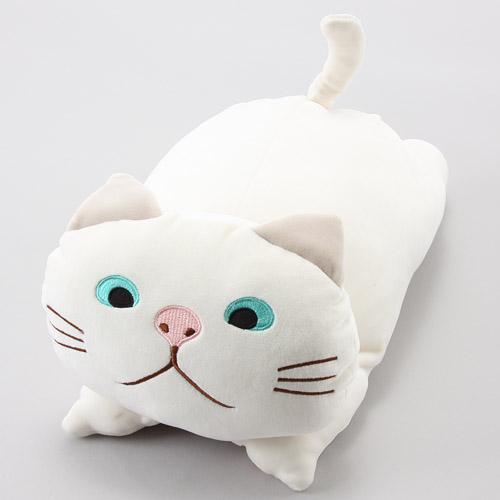 日本代購預購 日本喵星人 貓咪造型 白貓玩偶娃娃抱枕 M號34cm 滿600免運 809-311