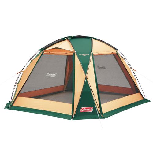 【露營趣】中和 附LED燈條 Coleman CM-27290 圓頂網屋/380綠 炊事帳 客廳帳 可四面開附帳篷連接布