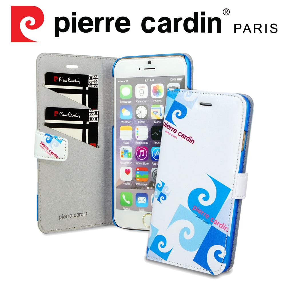[ iPhone SE/5/5S ] Pierre Cardin法國皮爾卡登4吋玩趣LOGO書本側翻式手機套/保護套/皮套 藍色