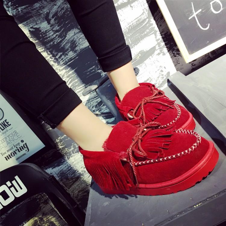 加絨棉鞋保暖冬季低筒雪靴女靴麵包鞋流蘇靴綁帶真皮韓國款短靴平底厚底毛毛