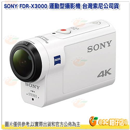 可分期 送64G+副電+座充+自拍棒+漂浮手腕帶+桌腳+小清組 SONY FDR-X3000 運動型攝影機 台灣索尼公司貨 4K攝影 循環錄影 光學防手震 內建GPS X3000