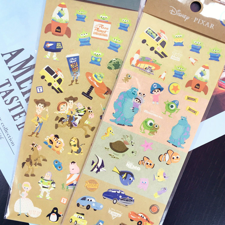PGS7 (現貨+預購) 日本迪士尼系列貼紙 - 迪士尼 皮克斯 牛皮 造型貼紙 玩具總動員 海底總動員 胡迪 巴斯光年