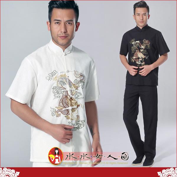 【水水女人國】~中國風男士唐裝~繡雲龍。優質棉麻書卷氣質十足的短袖上衣*兩色