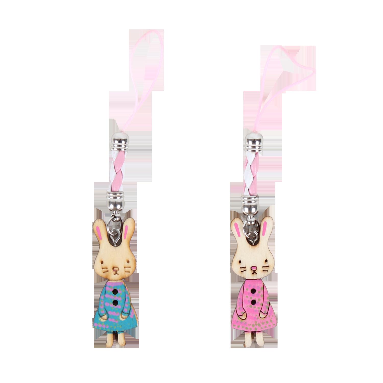 兔女孩木頭吊飾-可愛娃-免娃篇 手機吊飾 鑰匙圈吊飾 防塵塞